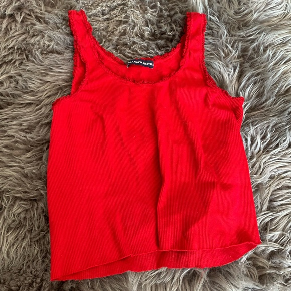 Brandy Melville Red Lettuce Trim Tank Top